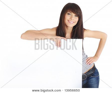 Sexy girl holding a blank billboard.