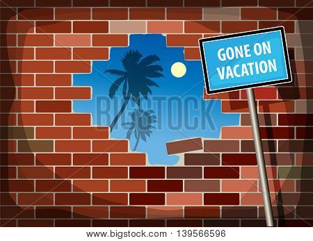 Abstract background with text Gone on Vacation, vector illustration