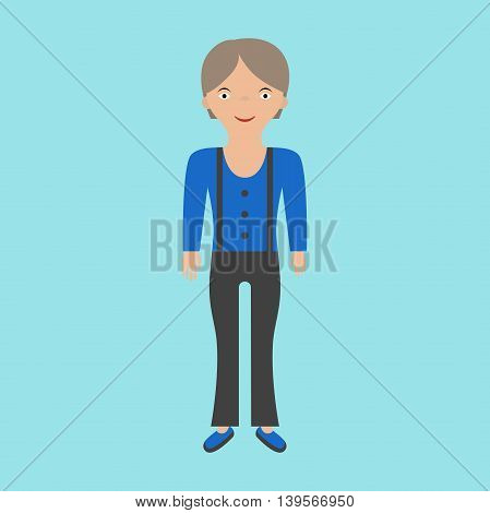 Farmer woman in overalls on blue background. Flat design. Vector illustration. EPS 8 no transparency