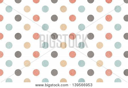 Watercolor Gray, Pink, Beige And Blue Polka Dot Background.