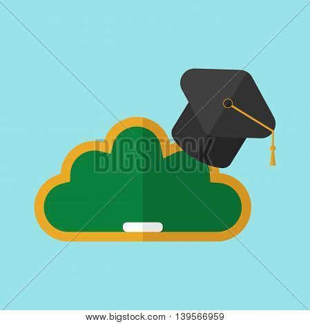 Black hat university on blackboard in the form of clouds on blue background. E-learning concept. Flat design. Vector illustration. EPS 8 no transparency