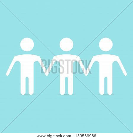 A series of white human figures in a row on blue background. Friendship and teamwork concept. Flat design. Vector illustration. EPS 8 no transparency