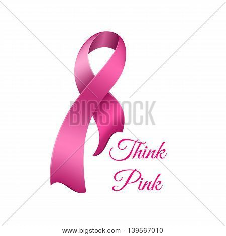 Breast cancer awareness pink ribbon. Vector illustration