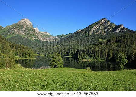 Lake Obersee and Mt Brunnelistock in summer Swiss Alps.