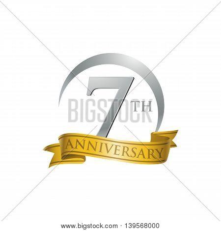 7th anniversary gold logo template. Creative design. Business success
