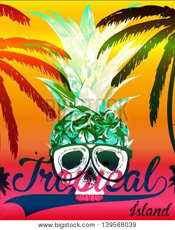 Tropical skull tee graphic design fashion style