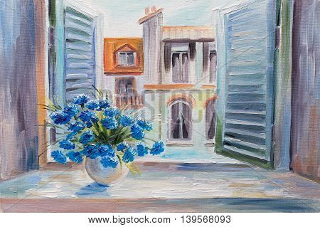 oil painting. flowers in the balcony beautiful rooftops in summer colorful watercolour