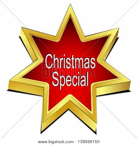 Christmas Special Star button - 3D illustration