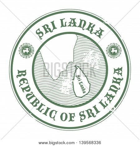 Grunge rubber stamp with the name and map of Sri Lanka, vector illustration