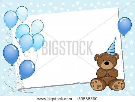 Blue Birthday Greeting Card With Teddy Bear