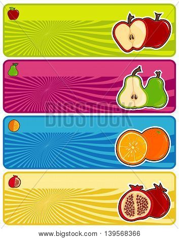 Multi Colored, Vivid and Juicy Fruit Banner Set
