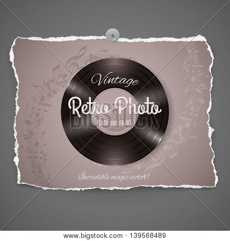 Vintage Vinyl Music Ilustration on peace of old photo paperpart of Vintage Photo Series