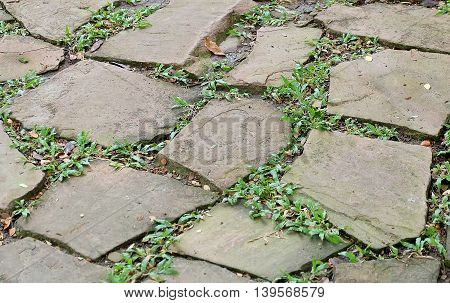 Background Pattern The Horizontal Asymmetrical Rock Cobblestoned Pavement with Green Grass.