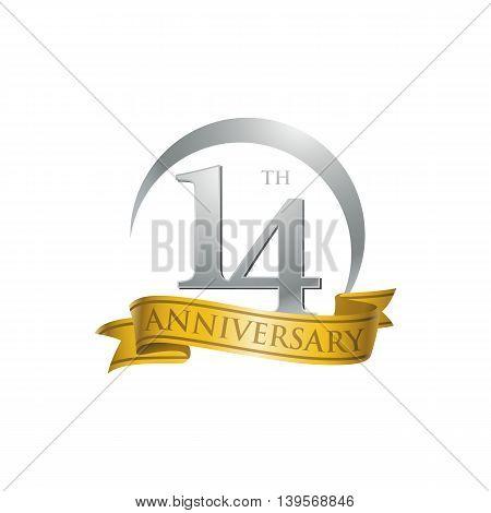 14th anniversary gold logo template. Creative design. Business success