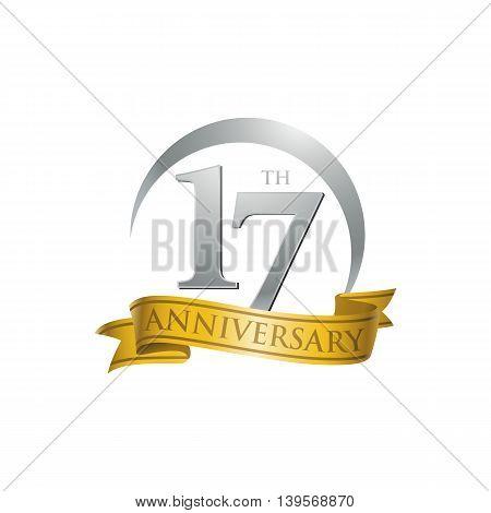 17th anniversary gold logo template. Creative design. Business success