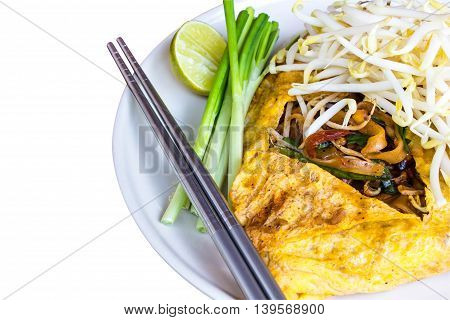 Stir Thailand Thailand fried noodle dishes isolated on white background.