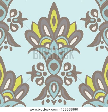 Abstract damask flower. Seamless vintage luxury ornamental vector pattern for fabric. Turkish style tile design