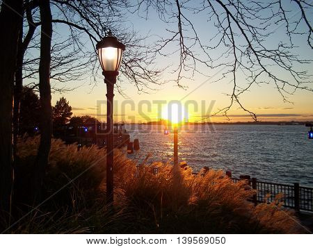 Sunset from Battery Park NYC  overlooking the Hudson River.