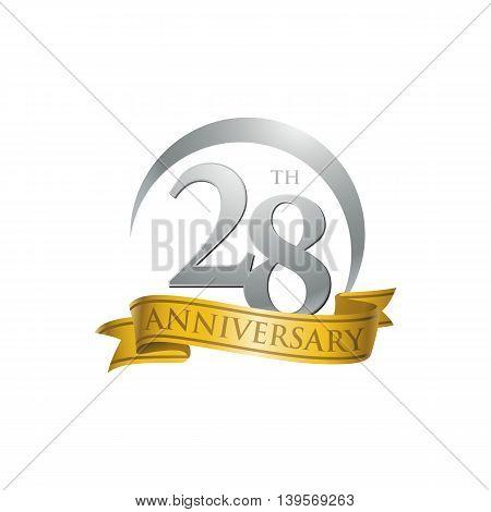 28th anniversary gold logo template. Creative design. Business success