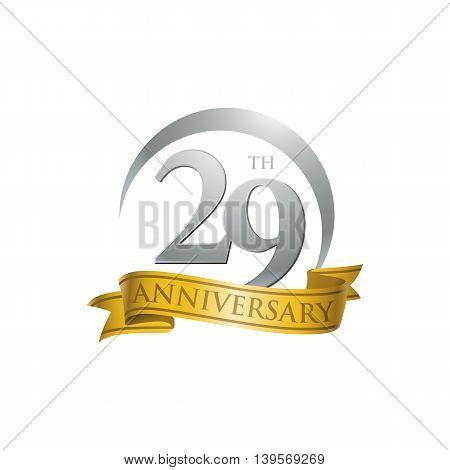 29th anniversary gold logo template. Creative design. Business success