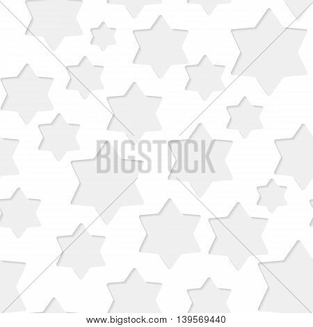 Seamless paper pattern with little gray stars on white background