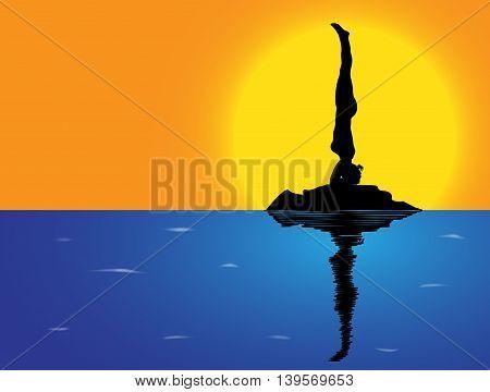 Yoga Headstand Sea Background