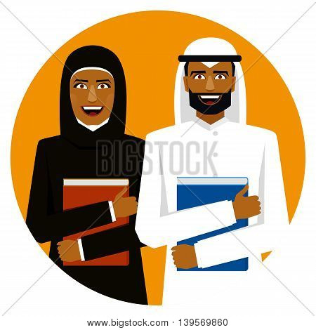 Round emblem. Smiling arab students with books.