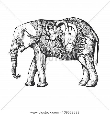 Colorful Hand Drawn African elephant in black silhouette with decorative elements.