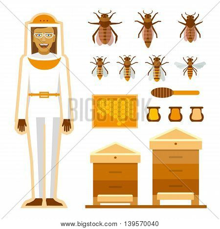 Smiling beekeeper with bees and apiaries. Women beekeeper costume. Bee, honey, bee house, honeycomb