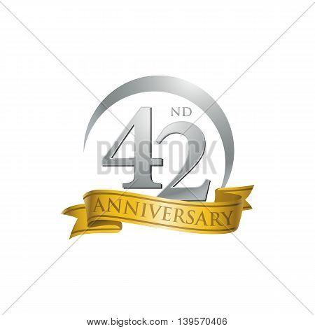 42nd anniversary gold logo template. Creative design. Business success