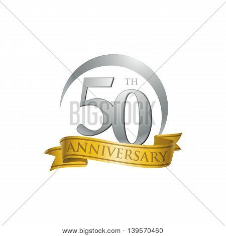 50th anniversary gold logo template. Creative design. Business success