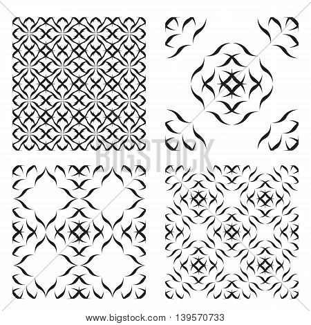 Abstract black Seamless pattern on a white background