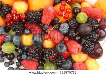 the a lots of fresh different berries