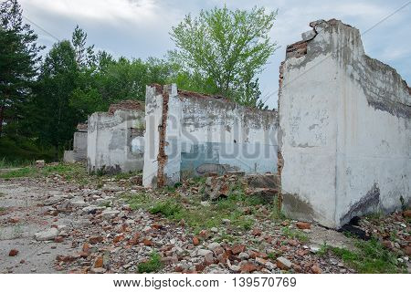 Old Abandoned Building With Broken Wall