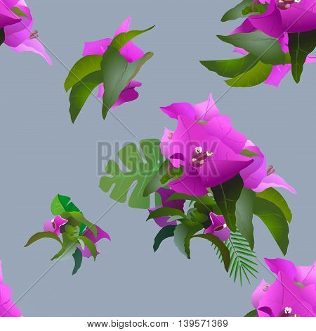 tropical exotic flowers and plants seamless pattern on a gray background