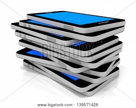 Stack Of Smart Phones With Blue Screen.