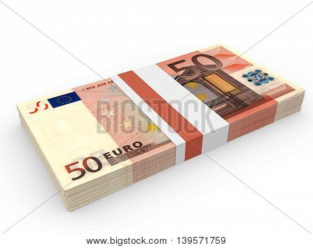 Pack Of Banknotes. Fifty Euros.