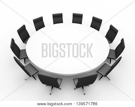 Meeting. Table  on white background. 3D illustration.