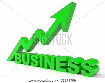 Graph up business arrow on white background. 3D illustration.