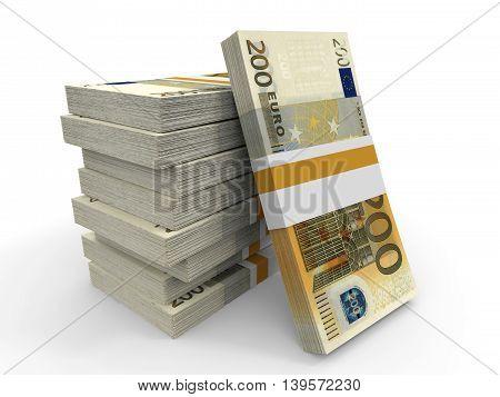 Two Hundred Euro Banknotes Background. 3D Illustration.