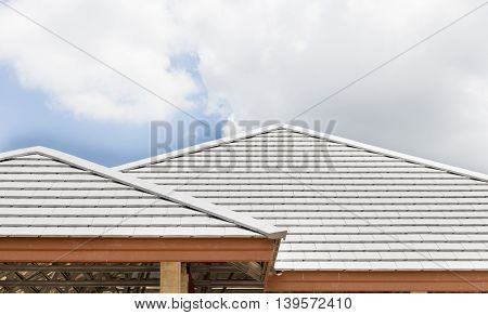 building construction roof concrete gray color in site