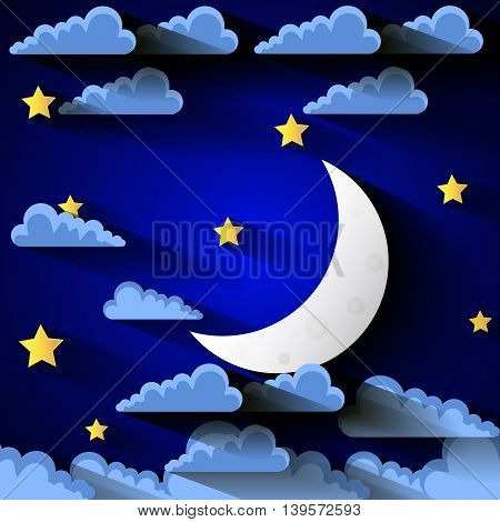 Vector background with evening sky. Moon and stars.