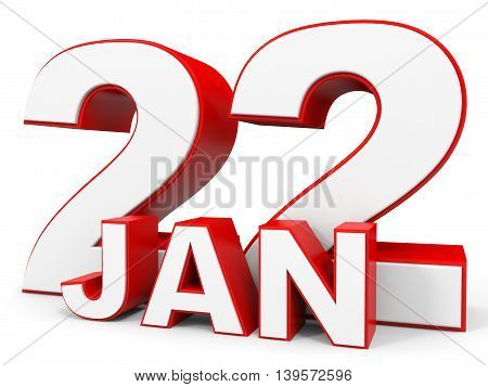 January 22. 3D Text On White Background.