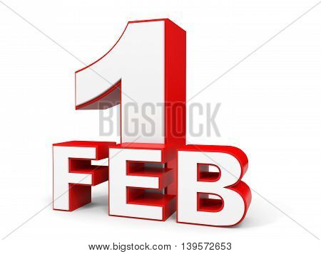 February 1. 3D Text On White Background.