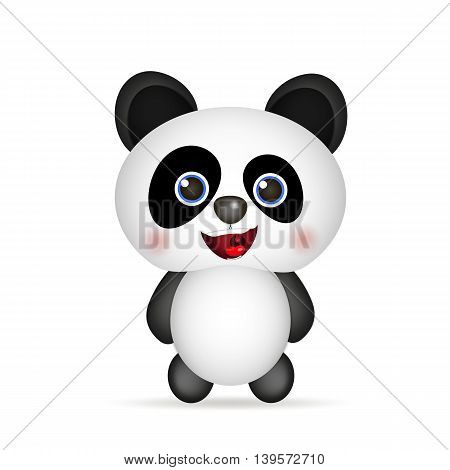 cute Panda smiling on white background vector illustration