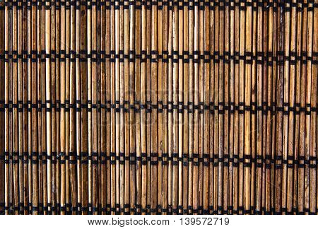 Brown vintage bamboo wood mat background texture
