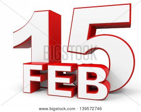 February 15. 3D Text On White Background.