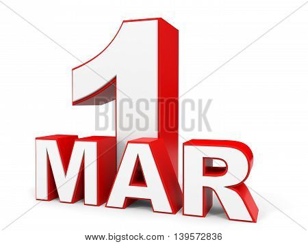 March 1. 3D Text On White Background.