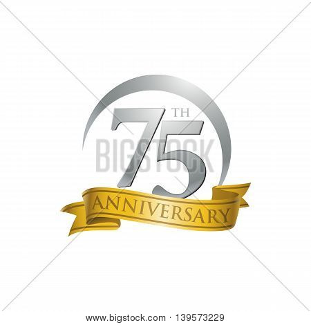 75th anniversary gold logo template. Creative design. Business success