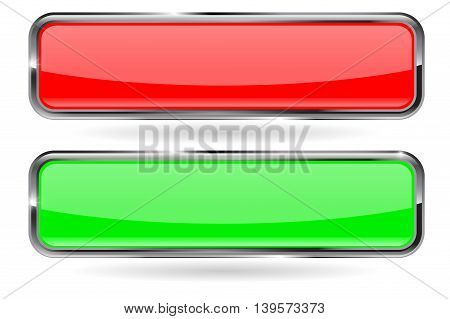 Web buttons. Red and green shiny button with metal frame. Vector illustration isolated on white background